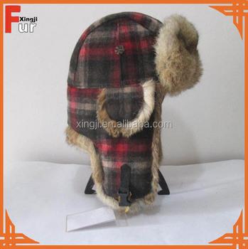 Wholesale Real Rabbit Fur Hat Earflap Trapper Hat Wool Plaid Winter . a4145507f8c7