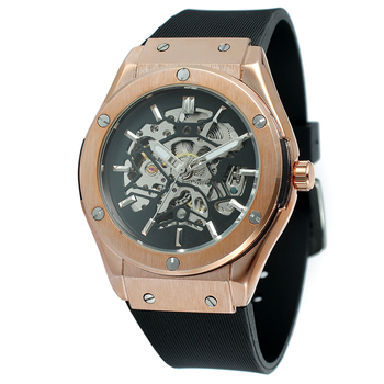 2017 New Style Forsining Skeleton Custom Automatic Watch With Rubber Band Luxury Brand Men Saat