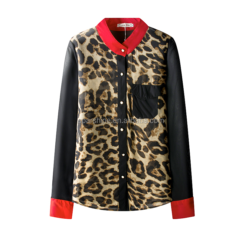 Korea Fashion Blouse Graceful Formal Double Sided Shirts Leopard