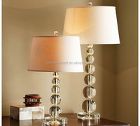 Stacked crystal globes table lamp bedside base and polished nickel iron rod with beige linen lamp shade for hotel CE approve