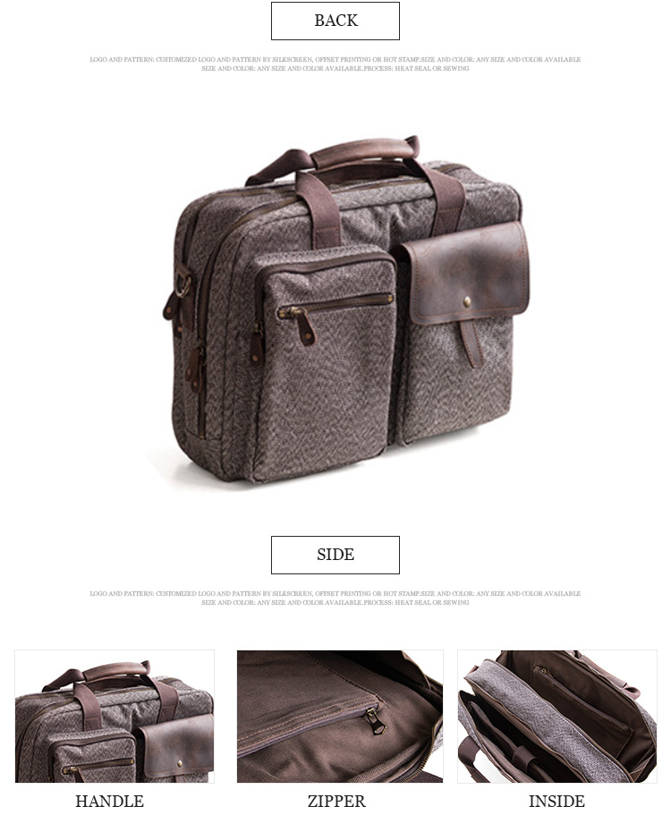 Wholesale custom briefcase laptop canvas messenger men single shoulder bag