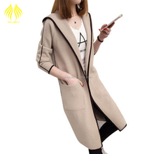 Ladies long Relaxed Hooded sweater 2017 lastest Wild models spring and autumn women coat