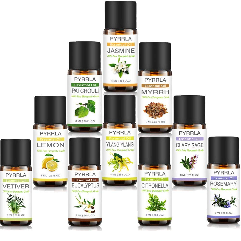Aromatherapy Top 10 Essential Oils,100% Pure of The Highest Quality By PYRRLA (Eucalyptus/Rosemary/Lemon/Patchouli/Vetiver/Clary Sage/Myrrh/Citronella/Ylang ylang/Jasmine)