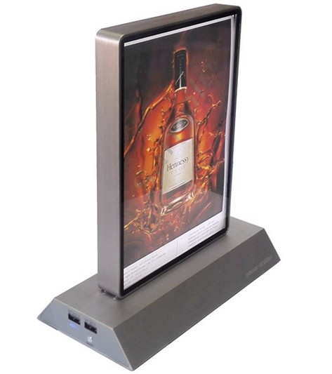 2017 QC 3.0 Restaurant/coffee shop/bar stand table menu 20000mah power bank dock station with CE/Rosh