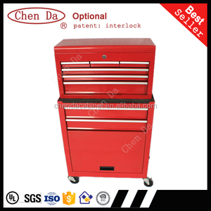 red or customized tool box set us general tool box parts with ball bearing slide drawers