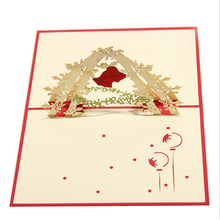 FQ brand paper cut custom handmade decoration 3d merry christmas card