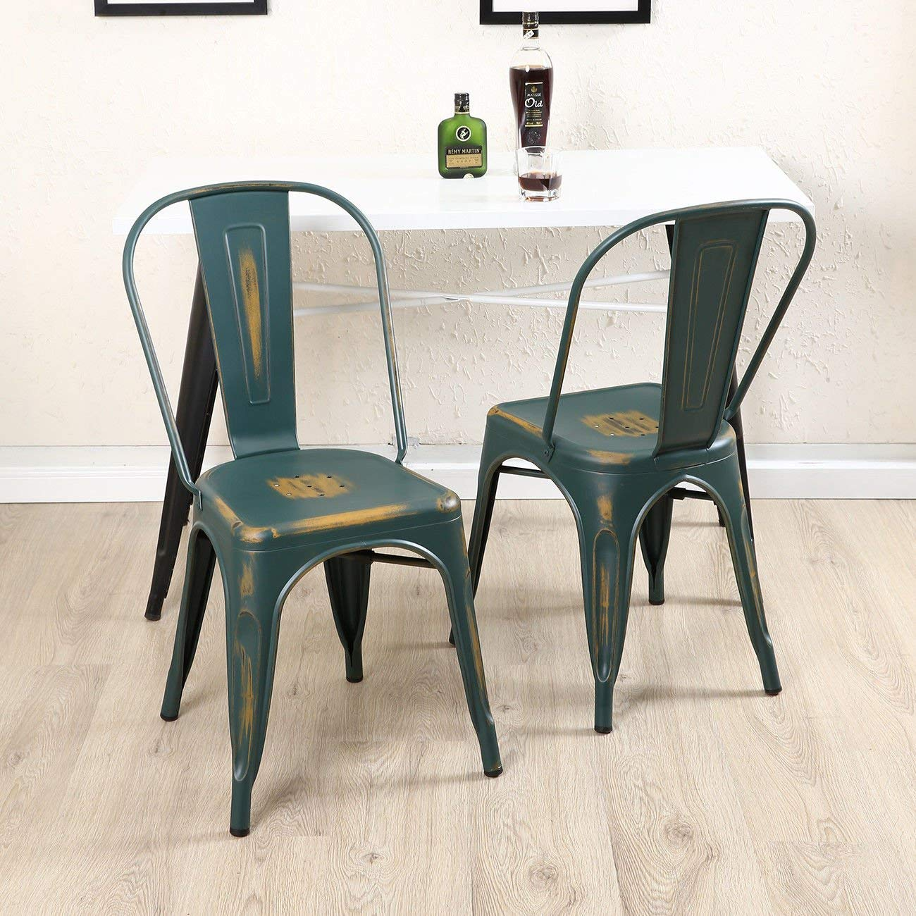 GHP 4-Pcs 330-Lbs Capacity Antique Blue Steel Bistro Dining Chairs with Backrest