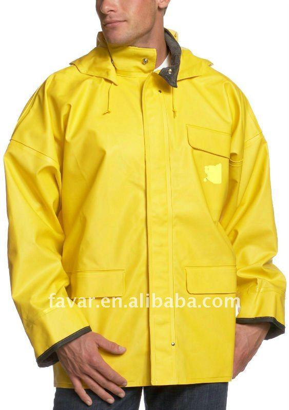 Mens 190t Nylon Pvc Coating Jacket Hoodie Outdoor Summer Yellow ...