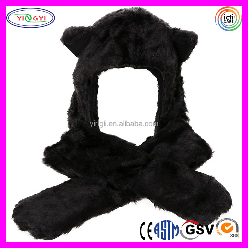 F196 3-in-1 Multi-functional Animal Hat Scarf Mitten Combo Sports Cap with Cat Ears