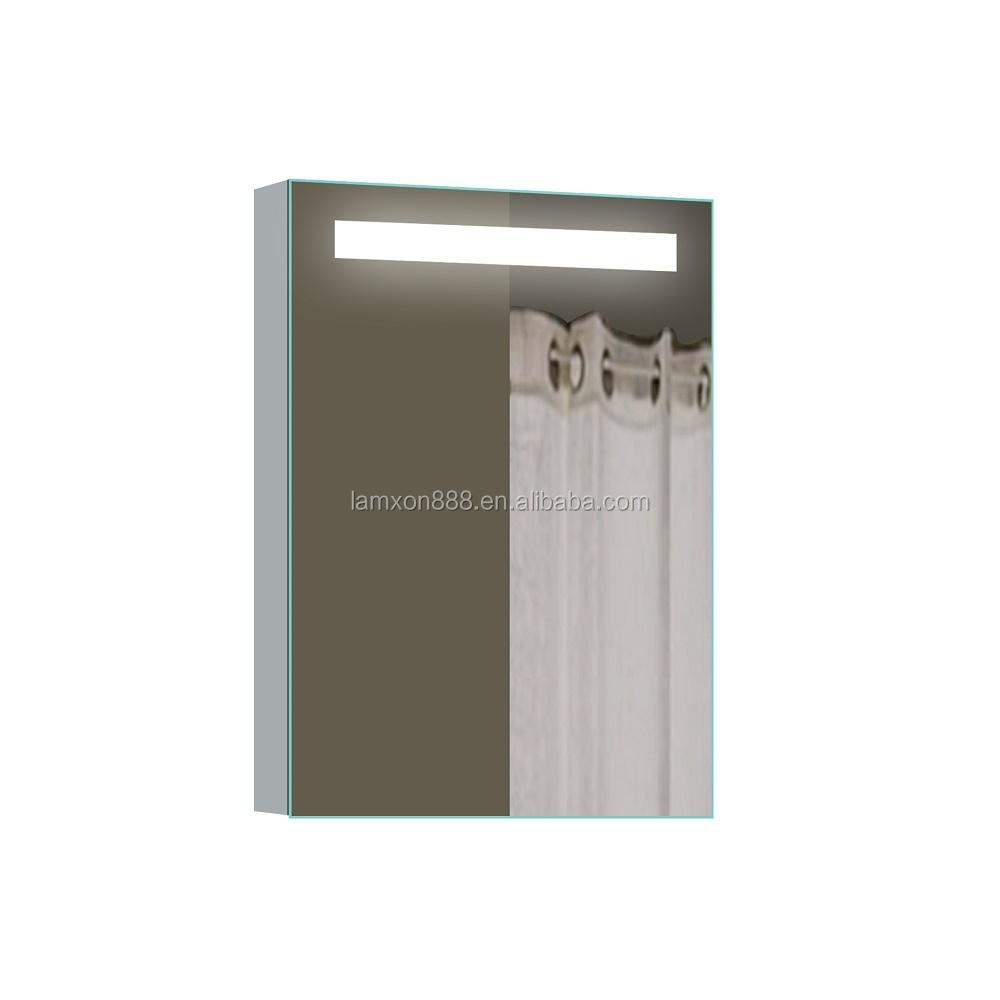 Single Door Illuminated Aluminum Medicine Cabinet Sliding Mirror Bathroom With