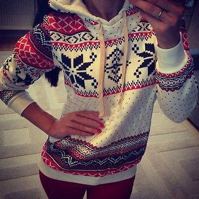 Winter Warm Women Hoodie Christmas Snowflake Jumper Sweatshirt Tops 8 16
