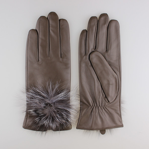 women fashion black patent leather glove with fur ball