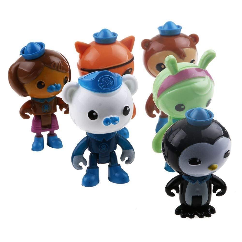 Mini 6Pcs/Set Octo Octonauts Crew Figurines Peso Barnacles Shellington Kwazii