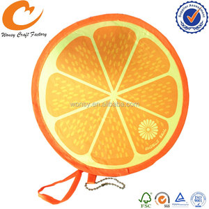 Fruit lemon shape kids outdoor sports game nylon frisbee with metal rings