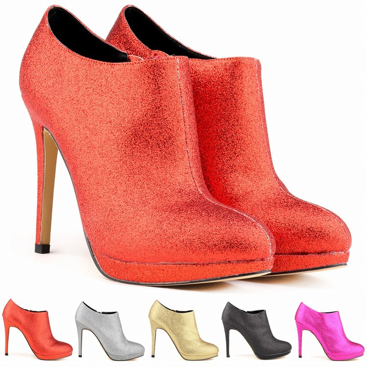 d46e828fc5 Get Quotations · gold women patent leather ankle boots heels platform  pointed toe heels shoes black/red/
