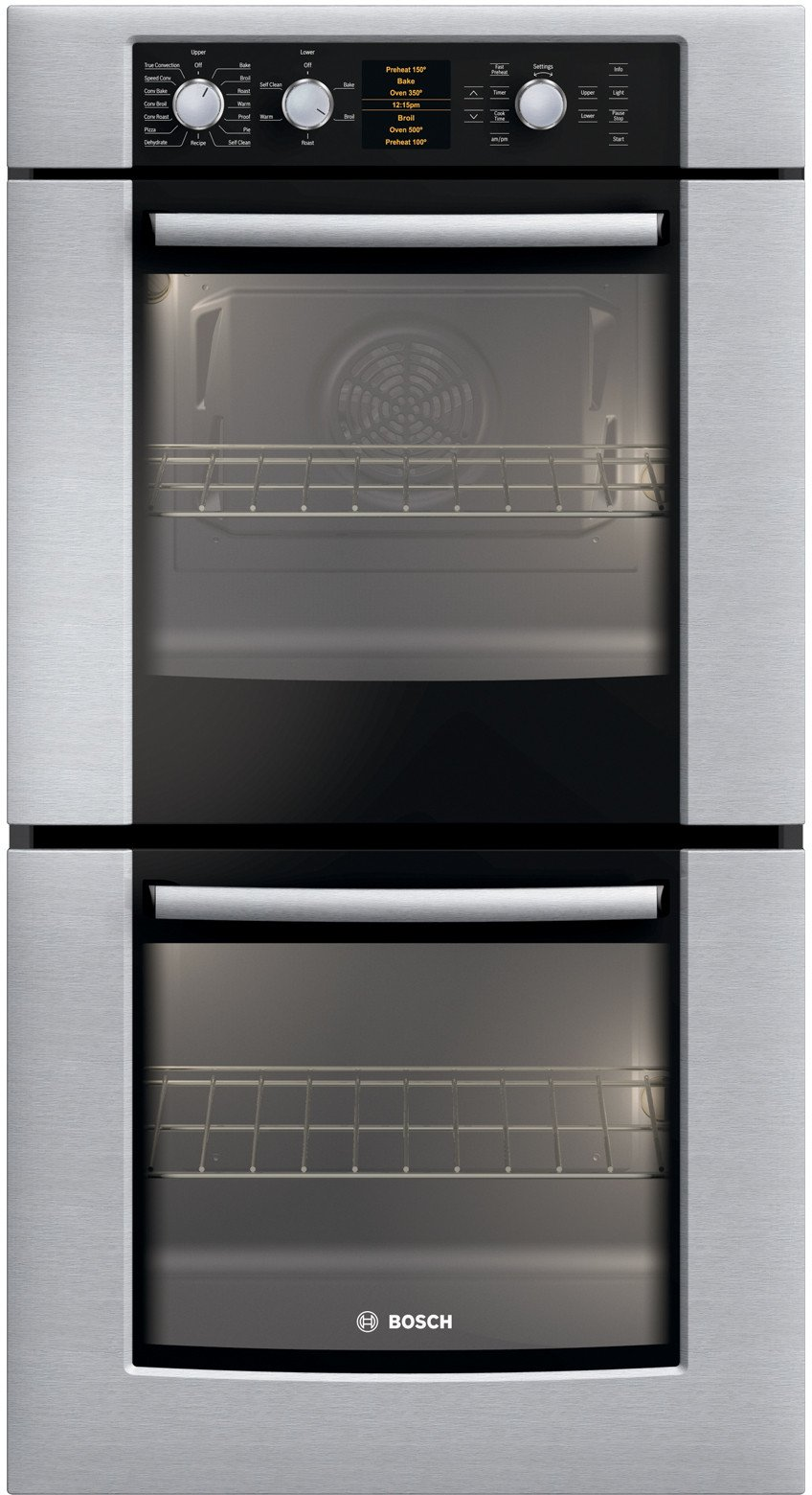 """Bosch HBN5650UC 500 Series 27"""" Double Electric Wall Oven with Genuine European Convection in Upper Oven, and Glass Touch Controls in Stainless Steel"""