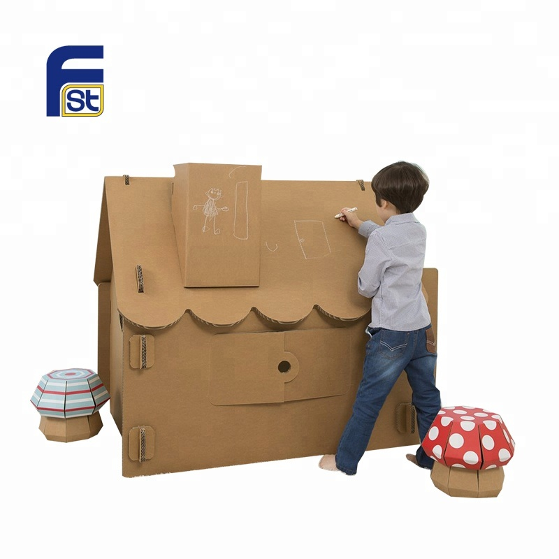 Children's toy house cardboard paper model, View house cardboard paper  model, FST Product Details from First (Shenzhen) Display Packaging Company