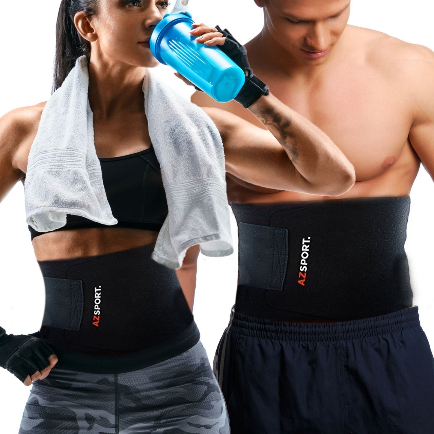 6d65711992c7c Get Quotations · AZSPORT Waist Trimmer - Adjustable Ab Sauna Belt to shed  the excess Water