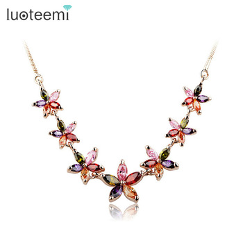 LUOTEEMI Jewelry Cheap Price Multicolor AAA Cubic Zirconia Summer Flower Necklace For Women Fashion Elegant Sexy Choker Necklace