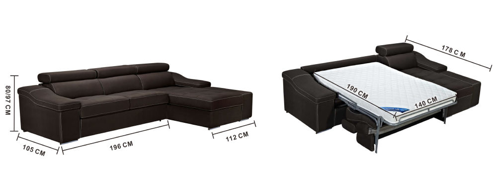 Modern Luxury Fabric L Shape Sofa Bed Living Room Furniture MY899