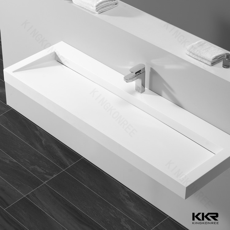 Solid Surface Corner Bathroom Sink Long Narrow Wash Sink