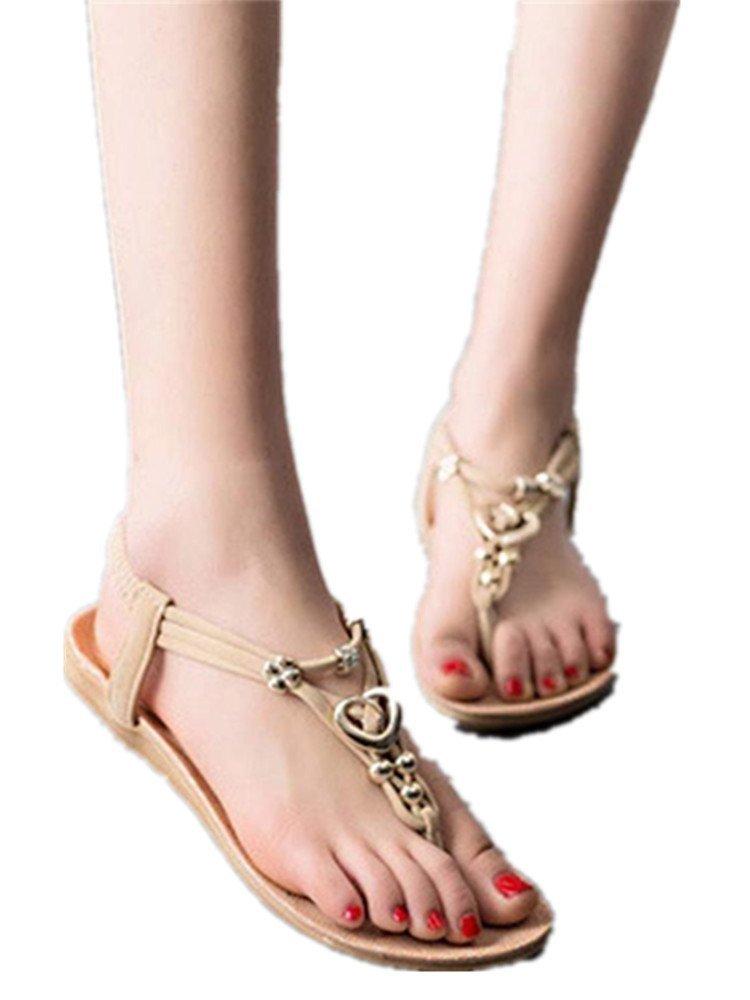 Hunputa Women's Summer Vacation Bohemia Sweet Beaded Sandals Clip Toe Thong Sandals Beach Shoes