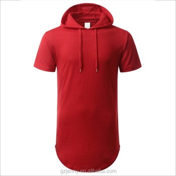 72b02fdb4 Men Short Sleeve Side Zip Elongated Curved Hem Sweatshirt French Terry  Hoodies