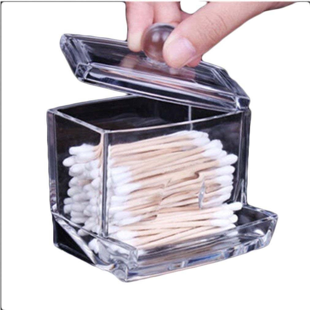 Ma.Lina Clear Acrylic Cotton Swab Q-tip Storage Holder Box Cosmetic Makeup Organizer HOT