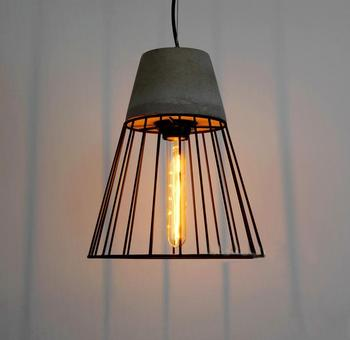 Post Modern Hanging Cement Pendant Lamp Contemporary Concrete Black Caged Lights Wrought Iron Lighting