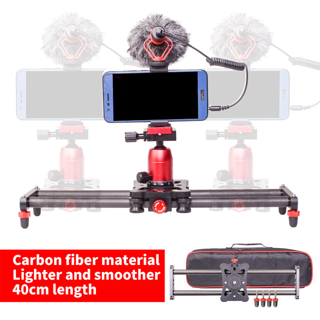 DF DIGITALFOTO 40cm Mini Carbon Fiber Slider Track Dolly Slider Rail System forXiaoYi Action Camera DSLR iphone X