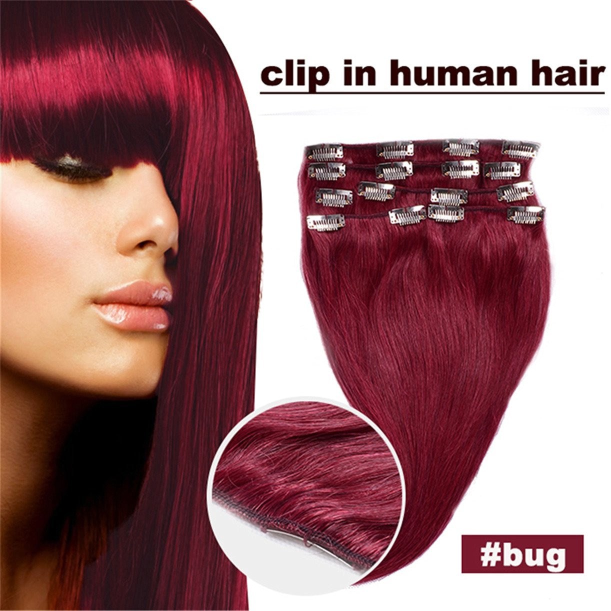 Superwigy® 15inch 7pcs Straight Remy Clip in Real Human Hair Extension #99j Red Wine Burgundy
