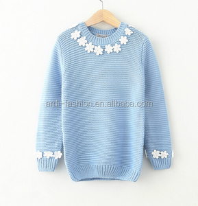 100% cotton crew neck flower pattern beaded girls children sweater