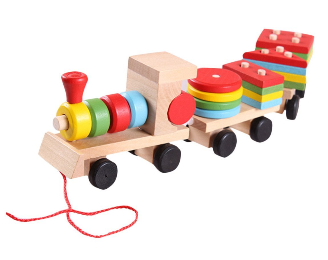 Aivtalk Baby Wooden Stacking Train Block Pull Along Puzzle Train Educational Development Toy