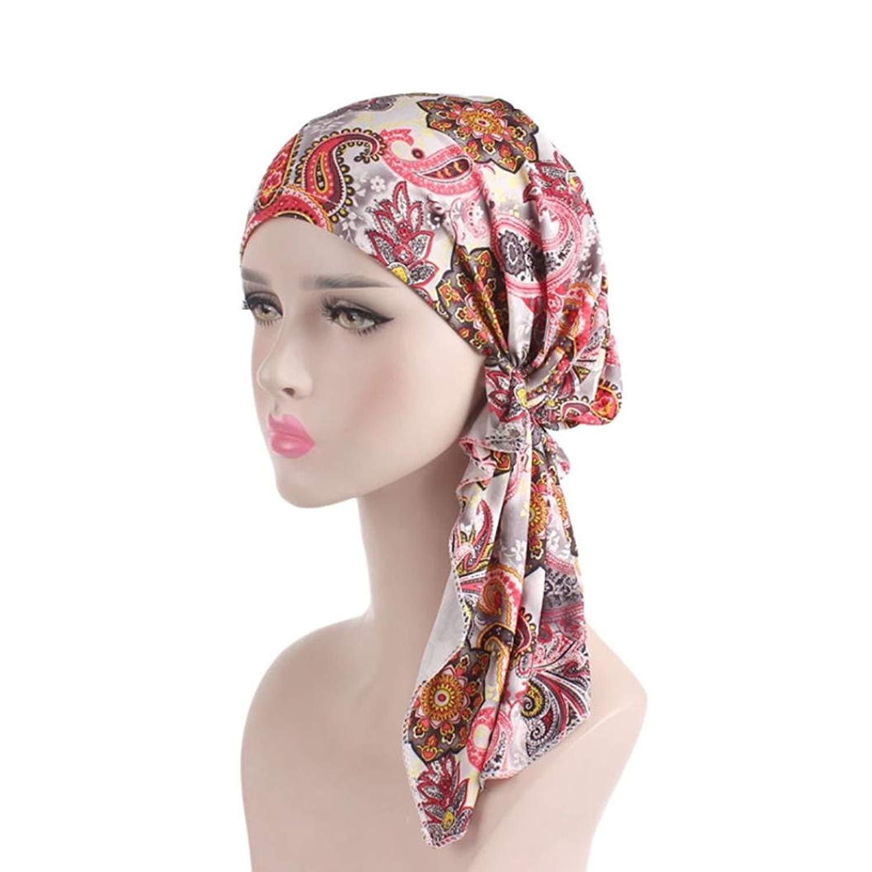 Women s Muslim Print Scarf Hat Stretch Turban Head Scarves Pre-Tied Long  Tail Headwear Bandana 53fac5dbd17f