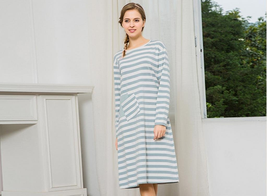 cf98899afd Get Quotations · MYM Cotton long sleeve nightdress ladies autumn new cotton  wide stripe nightdress ladies clothing