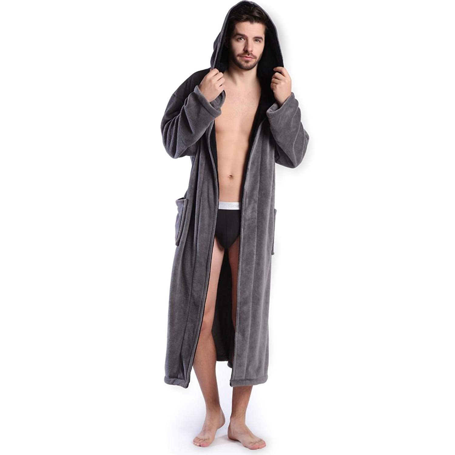 Get Quotations · Hooded Men s Grey Soft Spa Long Bathrobe 6a2864537
