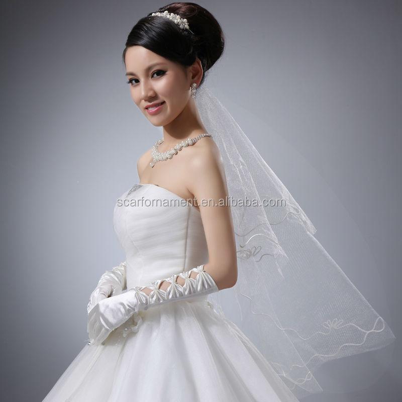 2014 Fashion Elegant Five Bows Full Finger Evening Satin Wedding ...