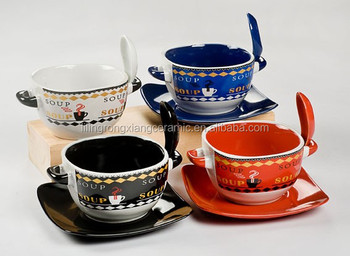 Soup Mug Two Handles With Spoon And Saucer - Buy Ceramic Soup Mugs ...