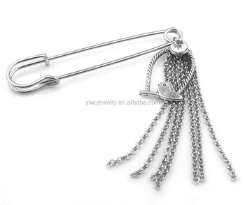 P001-041 women vintage jewelry accessories quality silver long metal safety pins for scarf