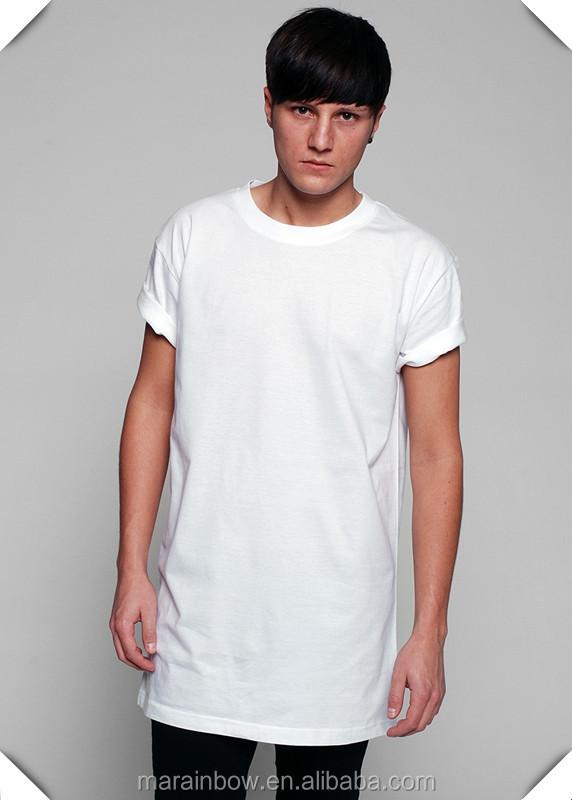 Hip Hop Mens Long Line T Shirts 100% Cotton White Plain Long T ...