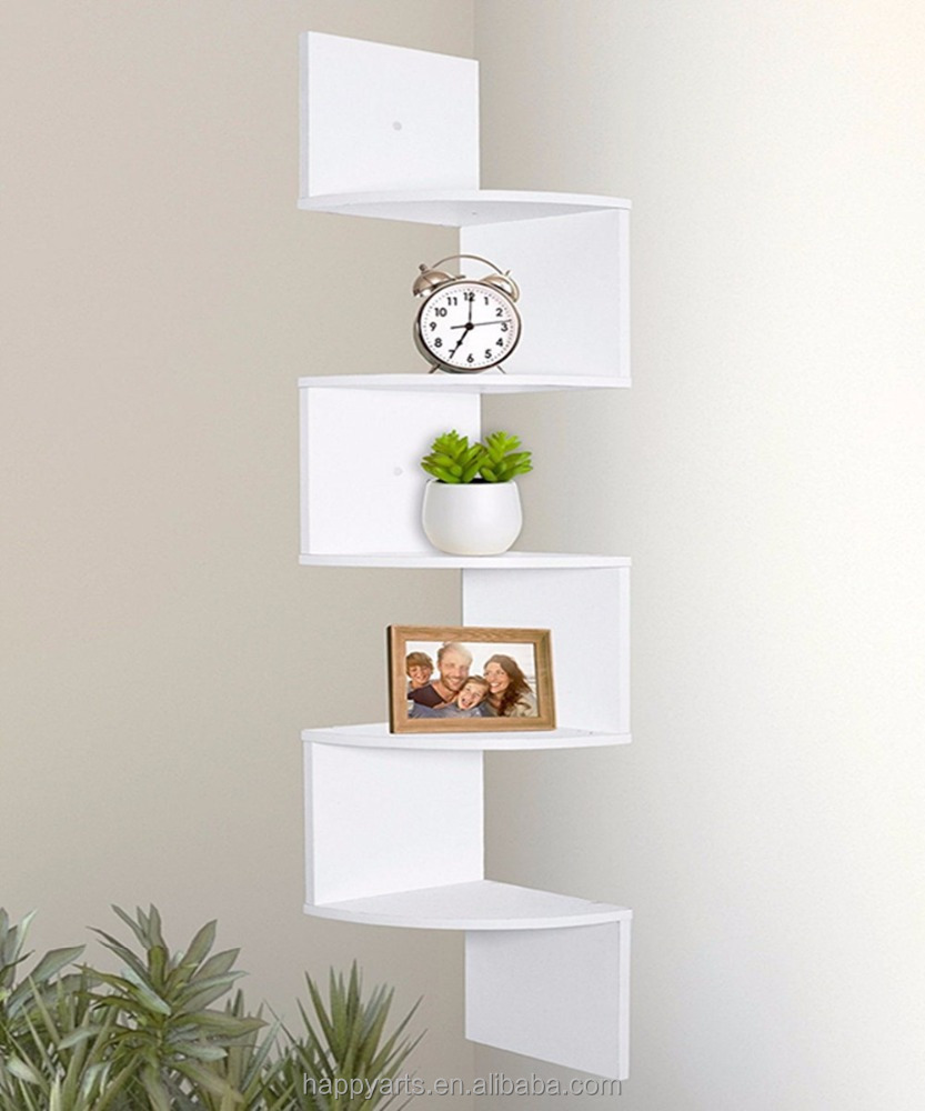 Wood Corner 5 tiers Wall Shelf Zig Zag Wooden Shelves Mount Rack Home Furniture