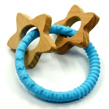 Hot sale customize beech wooden shape baby teether teething rings