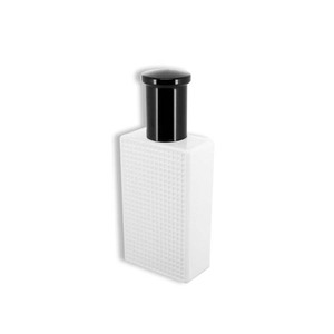 50ml white vintage glass perfume bottle with black cap