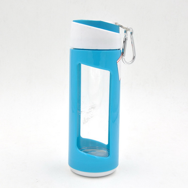 Key buckle protect sleeve glass water bottle with silicone sleeve