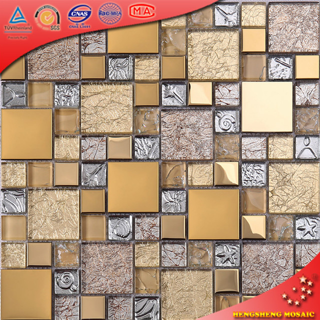HTJ19 New Design Wall Decorative Gold Tiles Mosaic Metal Mosaic