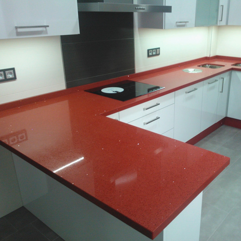 Red Quartz Kitchen Countertop: Hot On Sale Red Quartz Kitchen Countertops For Home
