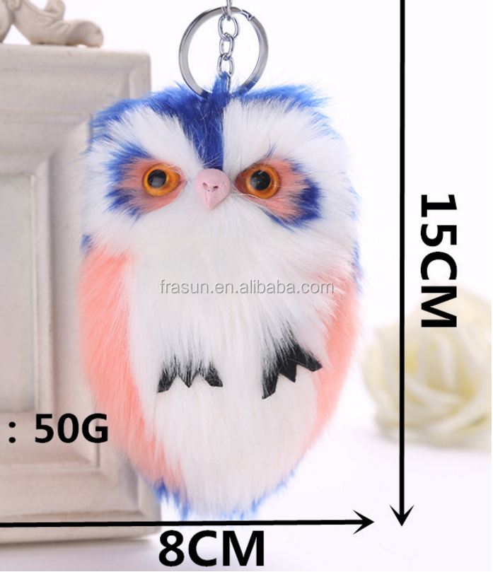 fake rabbit fur owl shape keychain for bag decoration soft fur material owl keychain