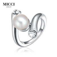 Fashion sterling silver pearl ring mountings,cz stone inlay pearl moti ring design settings for women