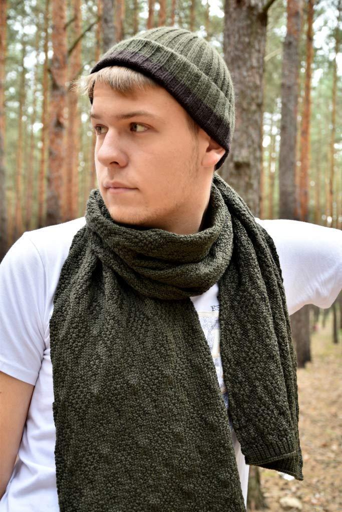 set dark khaki merino wool knitted scarf and hat, mens scarf, Winter Mens Scarf, christmas gift, knit accessories, men's scarf, Knitted scarf