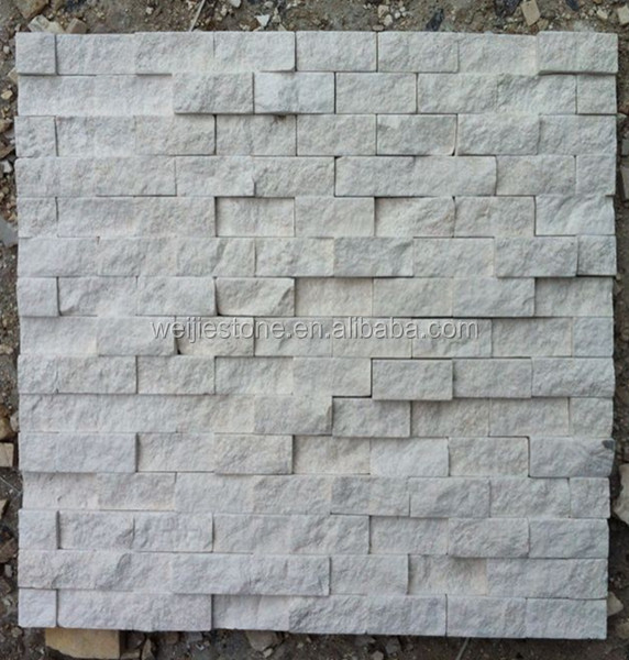 Exterior wall white stone mosaic tile,split face white beige wall mosaic